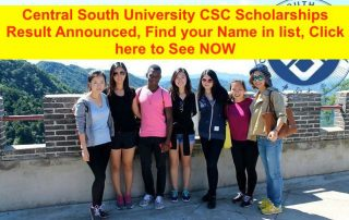 Central South University CSC Scholarships Result